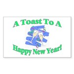 New Year's Toast Rectangle Sticker 50 pk)