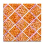 Diamond Pattern Orange Ceramic Tile Coaster