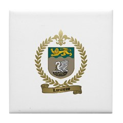 LAJEUNESSE Family Crest Tile Coaster