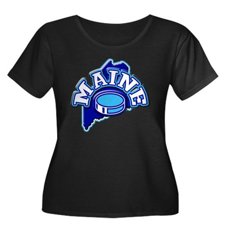 Maine Hockey Women's Plus Size Scoop Neck Dark T-S
