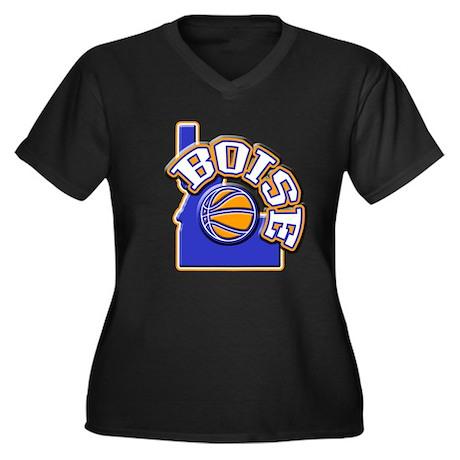 Boise Basketball Women's Plus Size V-Neck Dark T-S