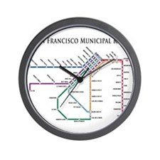 SF MUNI Map (with text) Wall Clock