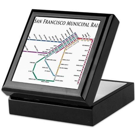 SF MUNI Map (with text) Keepsake Box