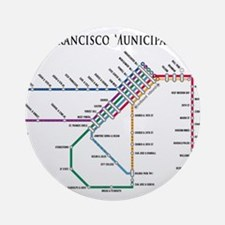SF MUNI Map (with text) Ornament (Round)