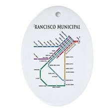 SF MUNI Map (with text) Oval Ornament