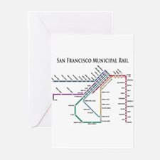 SF MUNI Map (with text) Greeting Cards (Pk of 10)