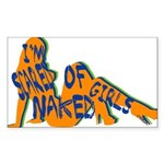 Neon Scared of Naked Girls Rectangle Sticker