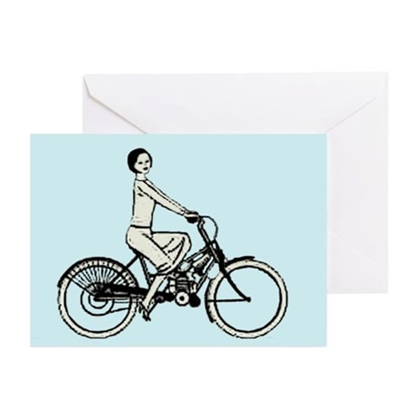 retro woman cyclist Greeting Cards (Pk of 20)