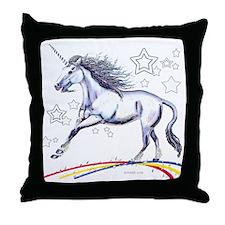 Unicorn and Stars (W) Throw Pillow