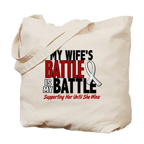 My Battle Too 1 PEARL WHITE (Wife) Tote Bag