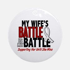 My Battle Too 1 PEARL WHITE (Wife) Ornament (Round