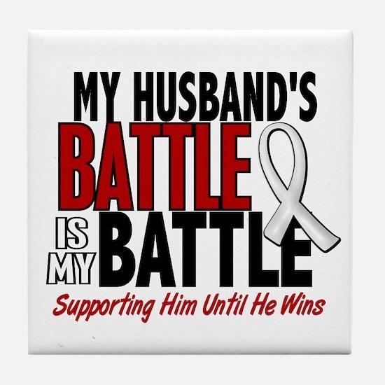 My Battle Too 1 PEARL WHITE (Husband) Tile Coaster
