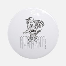 Baseball Outfielder Cat Ornament (Round)