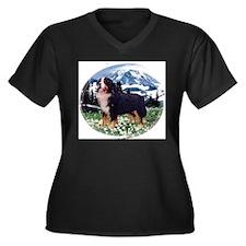 Cute Mountain dog Women's Plus Size V-Neck Dark T-Shirt
