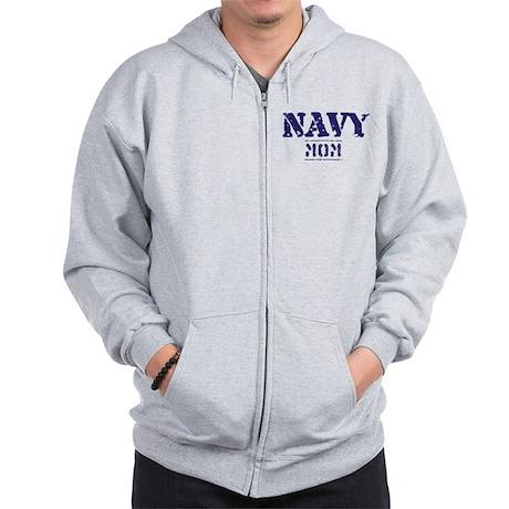 Navy Mom Stencil Zip Hoodie