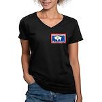 Wyoming-4 Women's V-Neck Dark T-Shirt