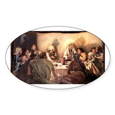 Jesus Eats with Disciples Oval Decal