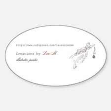 """About Lore M, painter, illus Oval Decal"