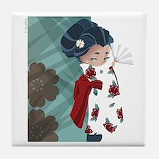 Japanese Flower Tile Coaster