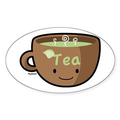Tea Morning Oval Sticker (10 pk)