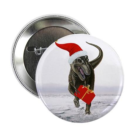 "'Santasaurus' T-Rex Dinsoaur ~ Single 2.25"" Button"