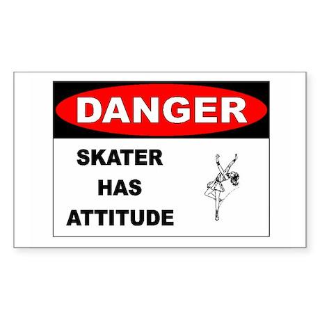 Danger Skater has Attitude Rectangle Sticker