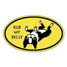 Rub My Belly Boston Terrier Decal