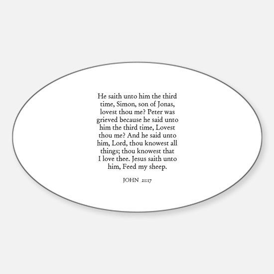 JOHN 21:17 Oval Decal