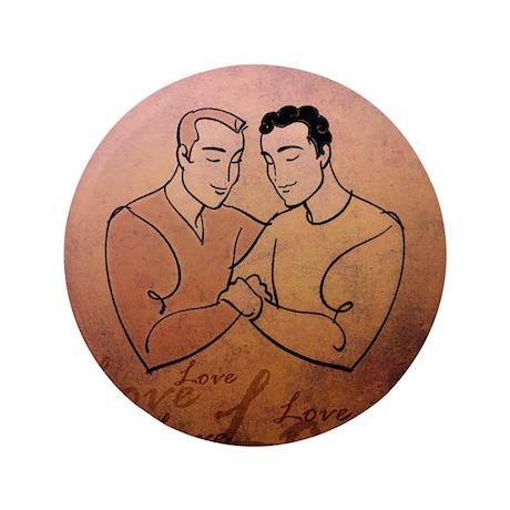 """Gay Valentine Love 3.5"""" Button"""