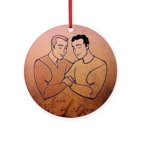 Gay Valentine Love Round Ornament