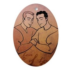 Gay Valentine Love Oval Ornament