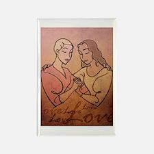 Lesbian Valentine Love Rectangle Magnet