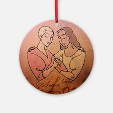 Lesbian Valentine Love Round Ornament