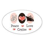 Peace Love Cruise Oval Sticker (10 pk)
