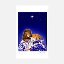 'Peace on Earth', Lion/Lamb Sticker (Rectangular