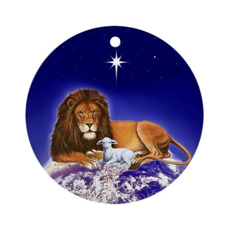 'Peace on Earth', Lion & Lamb ~ Ornament (Round)