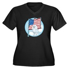 Patriotic Poodle Women's Plus Size V-Neck Dark T-S