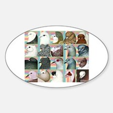 Twenty Pigeon Heads Oval Decal
