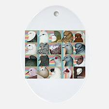 Twenty Pigeon Heads Oval Ornament