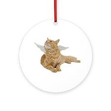 Orange Angel Cat Ornament (Round)