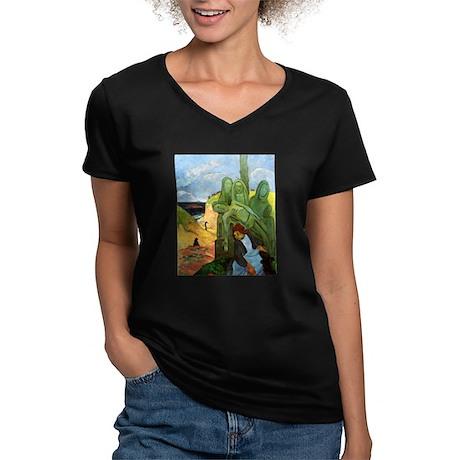 Green Christ Women's V-Neck Dark T-Shirt