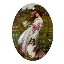 """""""Windflowers"""" and Sheltie Oval Ornament"""