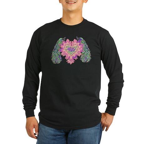 Valentine Peacocks Long Sleeve Dark T-Shirt