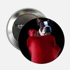 "Red Rose Boston Terrier 2.25"" Button"