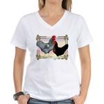 Black SL Chickens Women's V-Neck T-Shirt