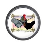 Black SL Chickens Wall Clock