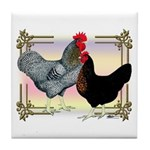 Black SL Chickens Tile Coaster