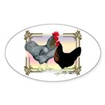 Black SL Chickens Oval Sticker