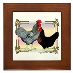 Black SL Chickens Framed Tile