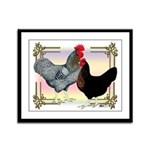 Black SL Chickens Framed Panel Print